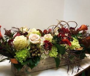 Fall Afternoon Wooden Box Arrangement in Northport, NY | Hengstenberg's Florist