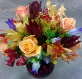 Fall arrangement in a purple vase, MO-207