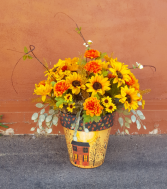 Fall arrangement in an Fall art pot Silk flower arrangement