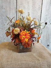 Fall arrangement in leaves square wooden box permanent floral