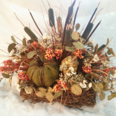 Fall Artificial centerpiece basket Round for a table centerpiece