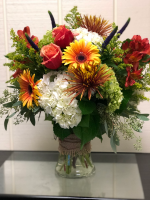 Fall Autumn Breeze Gathering Vase in Fairfield, CT | Blossoms at Dailey's Flower Shop