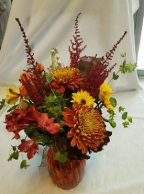 Fall Beauty, Designer's Choice Vased Arrangement, clear or color