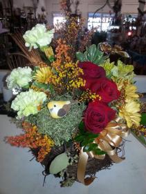 Fall Birds Nest Basket arrangement