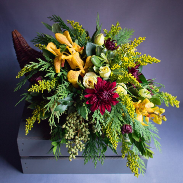 Autumn Bounty Cornucopia Table Piece