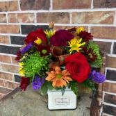 Fall Candle Arrangement Floral Design