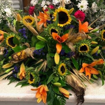 FALL CASKET SPRAY Funeral Flowers