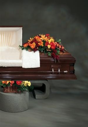 Fall Casket Spray CT20-21 Sympathy in Cloverdale, CA | ANNIE'S FLORAL
