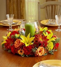 Fall Centerpiece with Pillar Candle Centerpiece