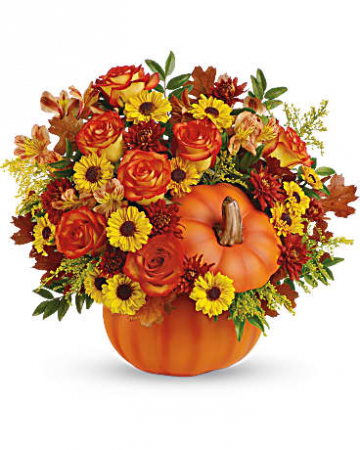 Fall  ceramic pumpkin arrangement