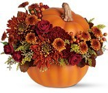 Poms & Pumpkin Fall Bouquet