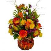 Fall Color Explosion Glass Pumpkin Vase