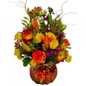 Fall Color Explosion Glass Pumpkin Vase in Coral Springs, FL | Hearts & Flowers of Coral Springs