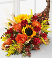 fall Cornucopia  centerpiece