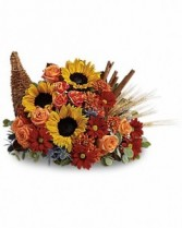 Fall Cornucopia Fresh Flower Arrangement
