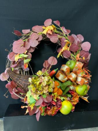 Fall Cornucopia Grapevine Wreath  Silk Grapevine Wreath