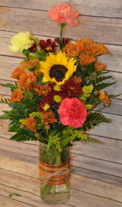 Fall Cylinder Arrangement  in Manchester, IA   SARAH'S FLOWERS & GIFTS