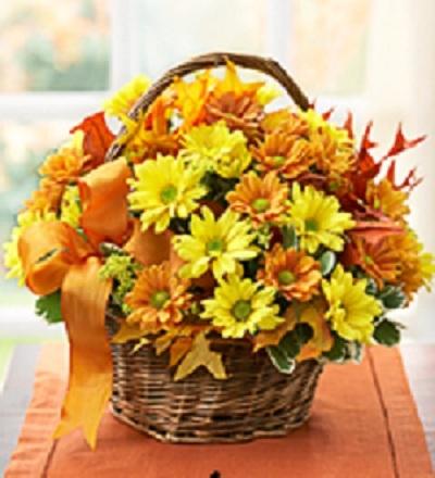 Fall Daisy Basket fresh in wicker