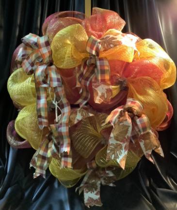 Fall Deco Wreath WF-F006 Fall Deco Mesh Wreath