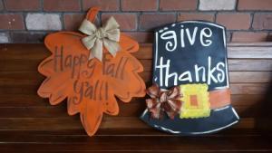 Fall Door Hangers Pilgrim Hat and Fall Leaf in Auburn, AL | AUBURN FLOWERS & GIFTS