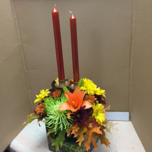 Fall elegance  metal and glass arrangement in Celina, TX | Celina Flowers & Gifts
