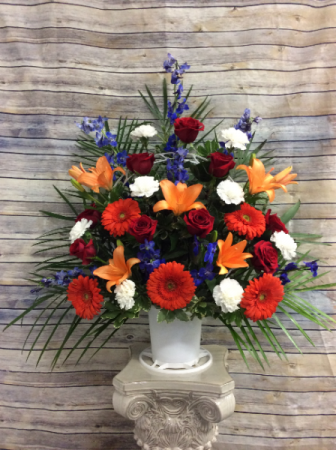 Fall Farewell Basket Funeral Flowers