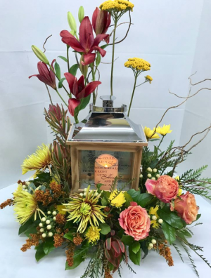 Fall Farewell Lantern Funeral Arrangement in Michigan City, IN | WRIGHT'S FLOWERS AND GIFTS INC.