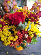 Fall Festival of Color bright vase of Autumn Flowers