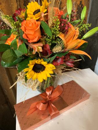Fall Fields Boquet w/ Chocolates Vase Arrangement