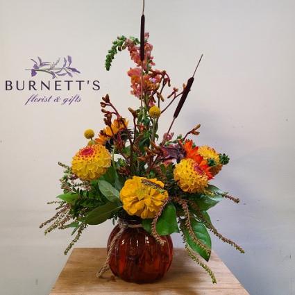 Fall Fire Vase Arrangement