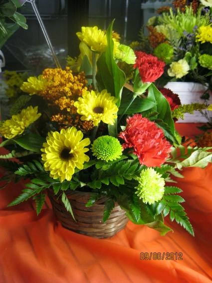 Fall Floral Basket Fresh Floral Arrangement