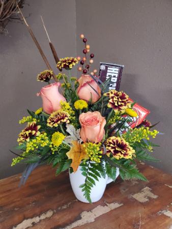 Fall flower and candy bouquet Vase arrangement