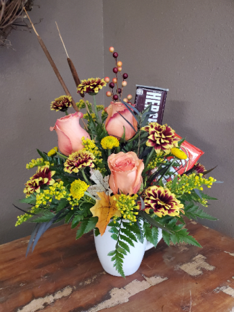 Fall flower and candy bouquet Vase arrangement
