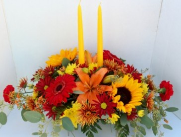 Fall flower Long & Low with 2 Candles Centerpiece