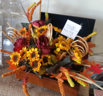 Fall flowers in music box Artificial floral arrangement