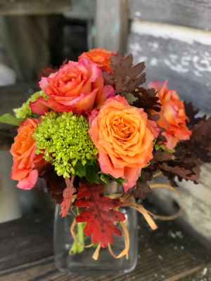 Fall Free Spirit Roses with Hydrangea Fall Vase Arrangement in Key West, FL | Petals & Vines