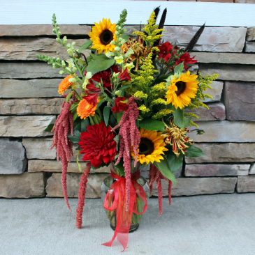 Fall Garden Vase Classic Flower Arrangement