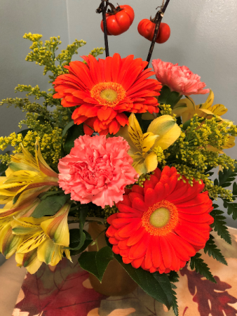 Fall Gerber Daisy Mix Vase