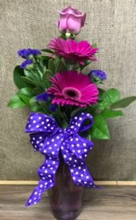 Gerberas and rose Vase arrangement