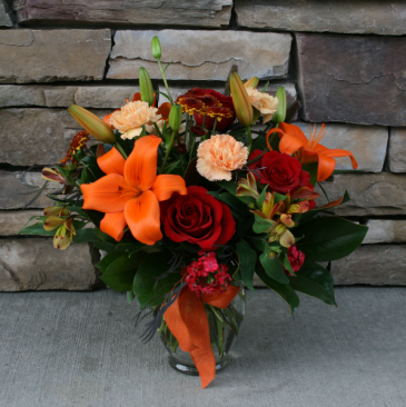 Fall Ginger Jar Seasonal Flower Arrangement