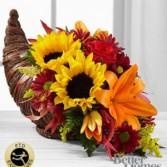 Fall Harvest Bopunty Arrangement in Cornucopia basket