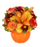 Fall Harvest Ceramic Pumpkin & Mixed Fall Flowers