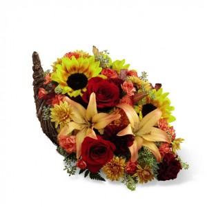 Fall Harvest Cornucopia Arrangement