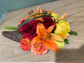 FALL HARVEST CORNUCOPIA ELEGANT MIXTURE OF FLOWERS
