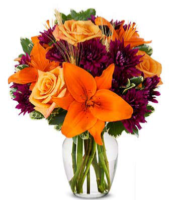 Fall Harvest  Fresh mixed colorful flowers