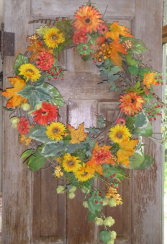 Fall Harvest permanent wreath Permanent wall or door piece