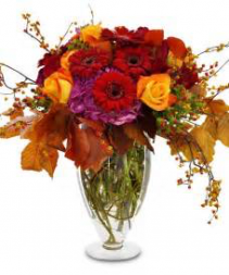 Fall Harvest VASE OF RICH COLOR ROSES, GERBERAS AND HYDRANGEA