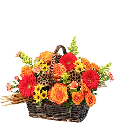 Fall In Flowers Basket Arrangement