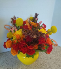 Fall Inspiration vase of decorated fall flowers