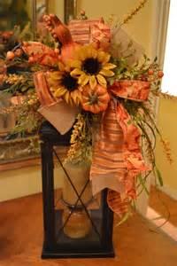Fall Lantern Metal lantern with Fall Faux Flowers